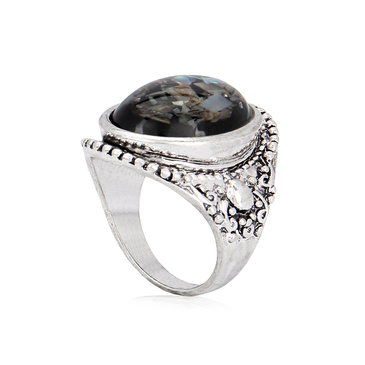 Sliver Oval Resin Sequins Ring