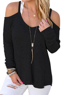 Black Sexy Cold Shoulder Long Sleeves Sweater