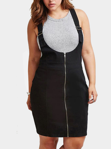 Plus Size Adjustable Belt Dress