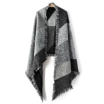 Geo Print Fringed Scarf in Black and Grey