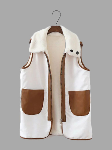Sunday Angora Yarns Fashion Sleeveless Zipper Front Gilet Outerwear