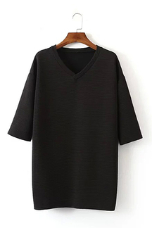 V-neck Side Split T-shirt in Black