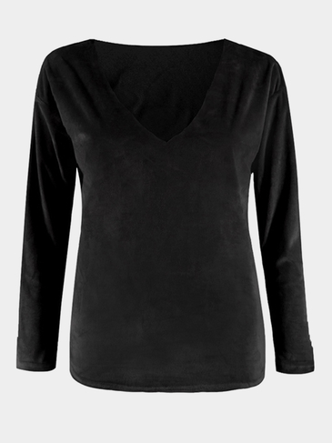 Sexy Velvet Details V Neck Top in Black