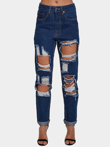 Medium Waist Denim Jeans with Ripped Details