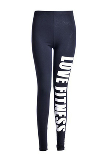 "White ""LOVE FITNESS"" Letter Pattern Leggings"