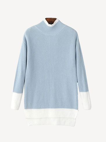 Patch-color Chunky KnitSweater