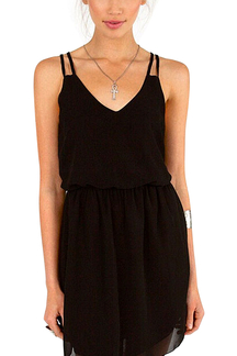 Black Spaghetti Strap Pleated Chiffon Dress