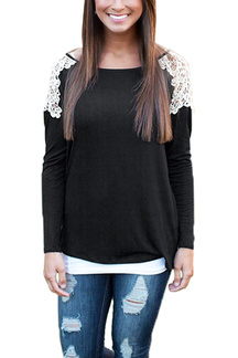 Long Sleeve Blouse with Lace Insert