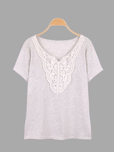 Grey Lace Details Short Sleeves T-shirt
