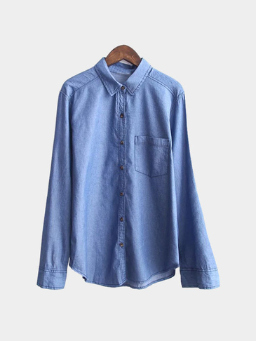 Embroidery Details Classic Denim Shirt with Pocket