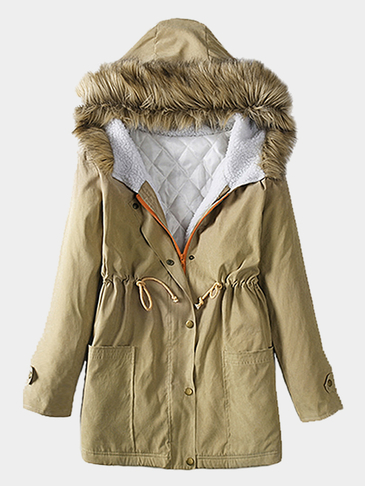 Khaki Fur Hooded Lace-up Thickened Padded Coat