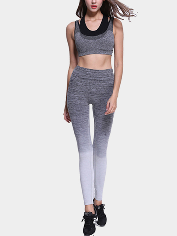 Grey Ombre Sports Crop Leggings