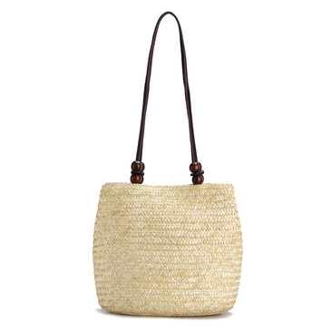 Beige Woven Top Clasp Magnetic Closure Shoulder Bags