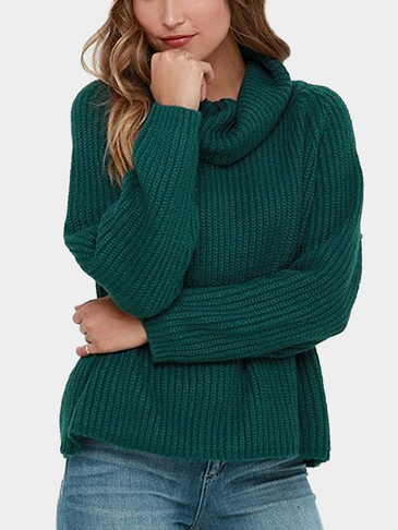 Green Raglan Shoulder High Neck Pullover Jumper