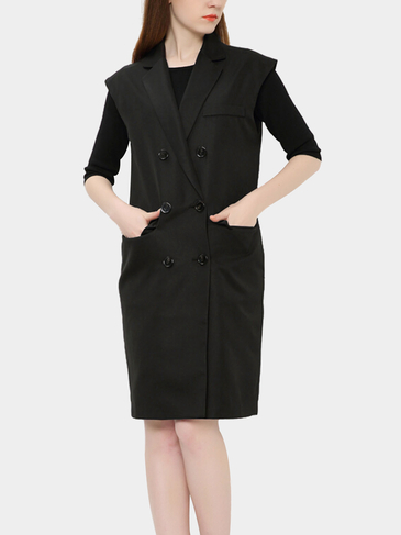 Black Single Breasted Midi Sleeveless Coat