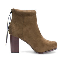Suede High Ankle Boots in Khaki