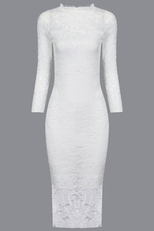 White Bodycon 3/4 Length Sleeves Lace Dress