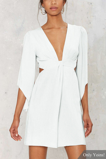 White Sexy Plunge V-neck Playsuit with 3/4 Length Sleeves