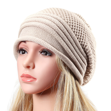 Beige Knitted Causal Folded Design Hat