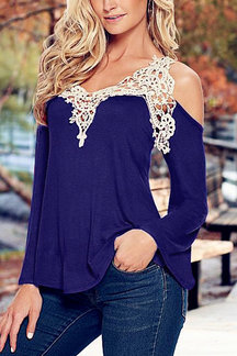 Blue Fashion Lace Flared Sleeve T-shirt