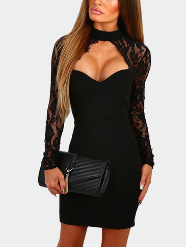 Black Sexy Crew Neck Lace Sleeves Mini Dress With Cut Out Detail