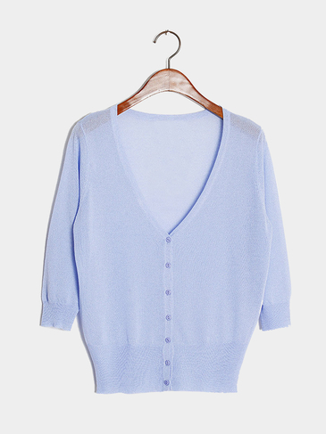Baby Blue Lightweight Knit Mini Cardigan