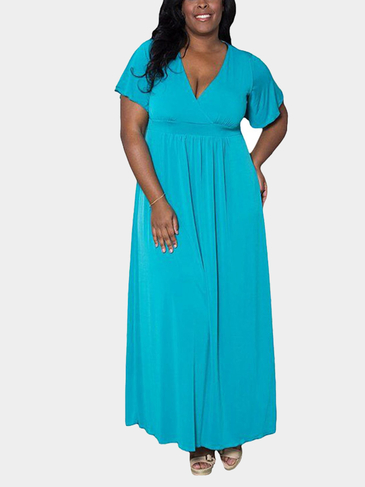 Plus Size Light Blue V-neck Flounced Sleeve Swing Maxi Dress