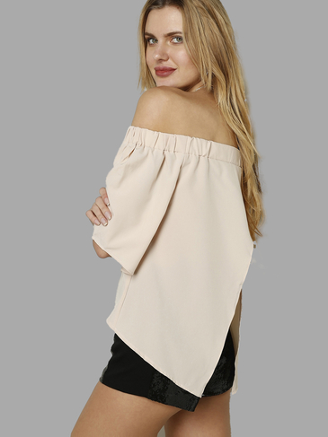 Nude Bateau Backless Top With Splited Hem