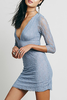 Light Blue Plunge Neck Lace Mini Dress