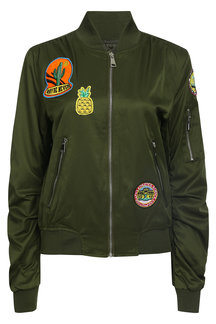 Мода Army Green Zip Крепеж и Карманы Пара Bomber Jacket