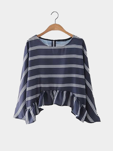 Round Neck Long Sleeves Strips Top