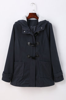 Dark Grey Button Fastening Hooded Fashion Coat with Pockets