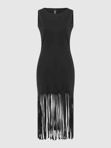 Black Sleeveless Dress With Tassel Hem