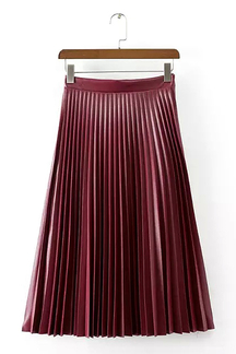 Burgandy Pleated Skirt in Artificial Leather