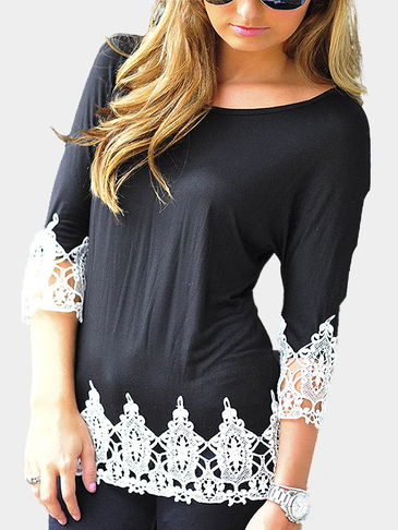 Black Fashion Lace Round Neck T-shirt