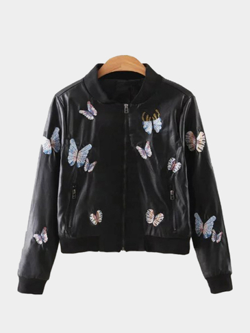 Black Leather Look Bomber Jacket With Butterfly Embroidery Pattern