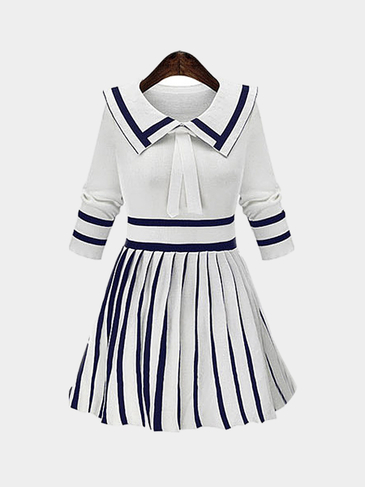 White Doll Collar Stripe Pleated Knitted Dress
