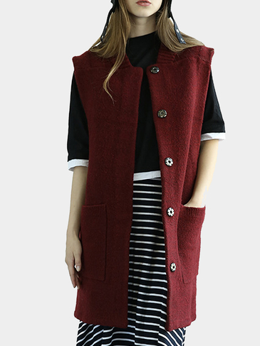 Red Snap Buttons Gilet with Large Pockets