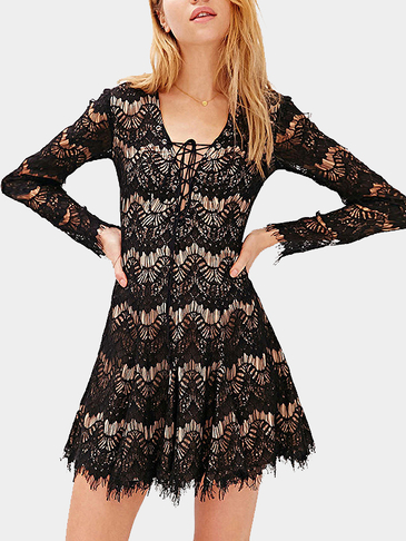 Black Eyelashes Long Sleeves Lace Mini Dress