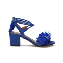 Blue Block Heel Pointed Open Toe Lace-up Strap Sandals With Tassel Trim