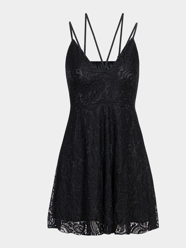 Black Plunge Lace Pleated Strappy Cami Dress with Lining