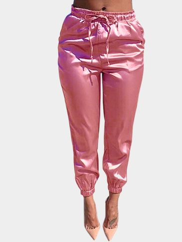 Pink Cropped Trousers with Self-tie Waist