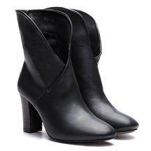 Black Leather-look Cross Chunky Heels Short Boots