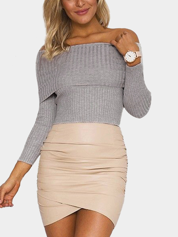 Grey Sexy Off Shoulder Long Sleeves Jumper