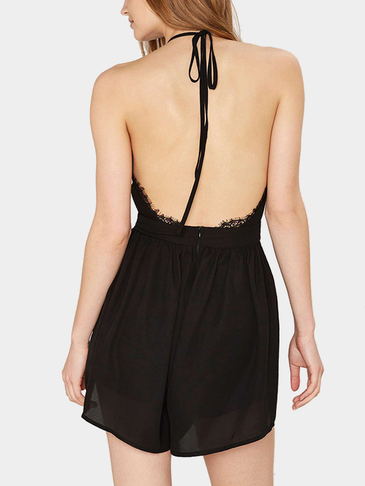 Open Back Lace Insert Sleeveless Halter Playsuit