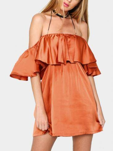 Off Shoulder Mini Dress with Layered Details