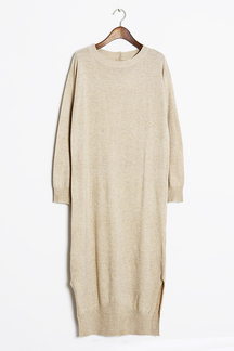 Apricot Maxi Knitted Dress with Splited Hem