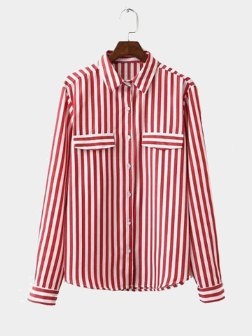 Red Classic Stripe Pattern Button Pocket Front Shirt
