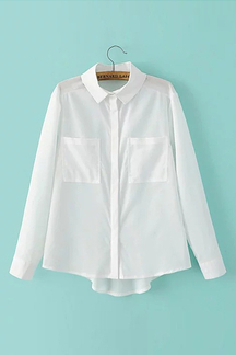White Long Sleeve Point Collar Shirt with Pockets