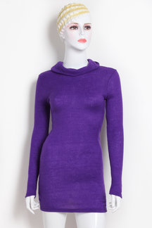 Purple Sexy Bodycon Rollneck Long Sleeves Mini Dress